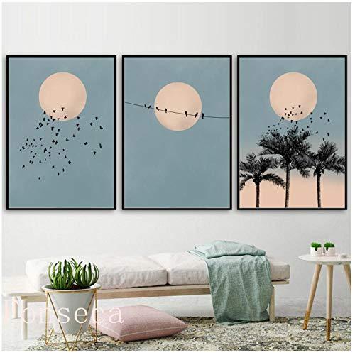 Maan vogel palm landschap canvas schilderij blauw Noordse posters en afdrukken muurkunst schilderijen voor woonkamer decoratie para EL hogar 60x80cm Sin Marco