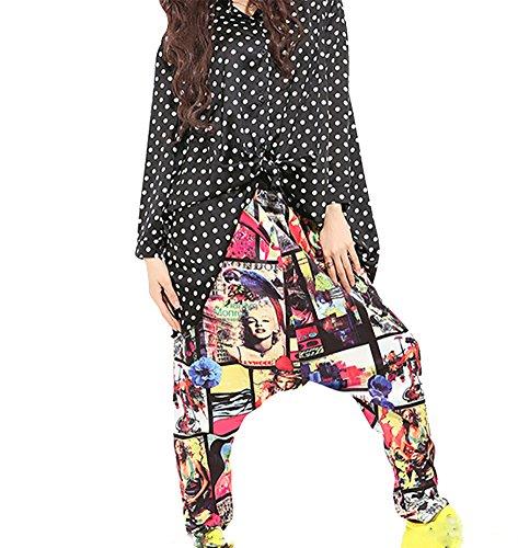 Baymate Pantalon Sarouel Multicolore Femme Lâche Harem Jogging Baggy Pantalons de survêtement Casual Bouffant comme Image