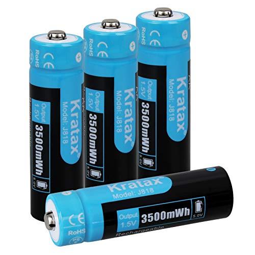 Kratax Batterie Ricaricabili 3500 mWh AA al Litio 1,5 V [4 Pile], Ricarica Rapida 1200 cicli di Ricarica e Scarica (Non per il Flash)