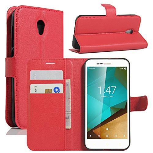 Vodafone Smart Prime 7 Hülle, HualuBro [Standfunktion] [All Aro& Schutz] Vodafone Smart Prime 7 Schutzhülle, Premium PU Leder Wallet Flip Tasche Hülle Cover mit Karten Slot für Vodafone Smart Prime 7 Smartphone (Red)