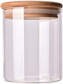 Pot en verre avec couvercle en bambou scellé Canister stockage des aliments Flacons Cuisine de rangement for thé en vrac g...