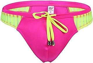 sandbank Men's Sexy Low Rise Mesh Thong Swim Briefs - red - X-Large