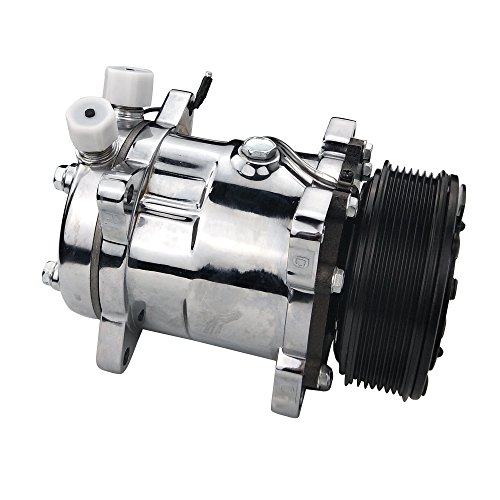 ACTECmax Universal A/C Compressor with Black PV7 Clutch SD 508 Style 5H14 R134A Chrome Serpentine Belt