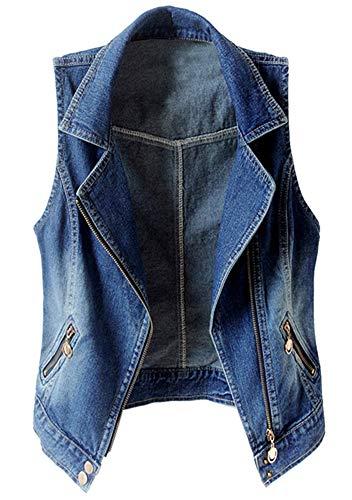 KEDERA Women's Sleeveless Lapel Denim Vest Button Up Waistcoat Cropped Jacket (Blue, Small)