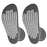2 Pairs Diabetic Socks Unisex - Men's and Women Non Skid Hospital Loose Fitting Design, Physician Approved Slipper Socks with Gripper Bottoms Gripper Socks (Grey - Skid 3, 13-15)
