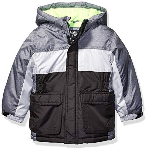 Osh Kosh Boys' Little Heavyweight Colorblock Puffer Coat, Grey/Silver/Black, 4