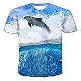 TKWNB Unisex 3D Impreso Verano Manga Corta Camisetas Tees Camiseta de Pesca de Delfines gráfico Masculino Casual Impreso Tops Verano para Hombre o-Cuello streetwear-3XL