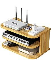 YTREDF Set Top Box Estante de Múltiples Funciones, WiFi Router Estante de Almacenamiento de Madera, para Televisión Caja Conjunto Dispositivo Medios, Caja de Cables, Altavoces Wood Color