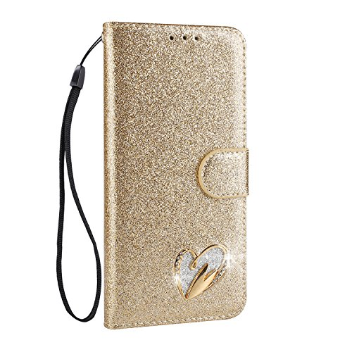 Samsung Galaxy J3 2017 Hülle Glitzer, CXTcase Flip Case für Samsung Galaxy J3 2017 Leder Tasche - Stand Feature, Magnetverschluss Champagner Gold