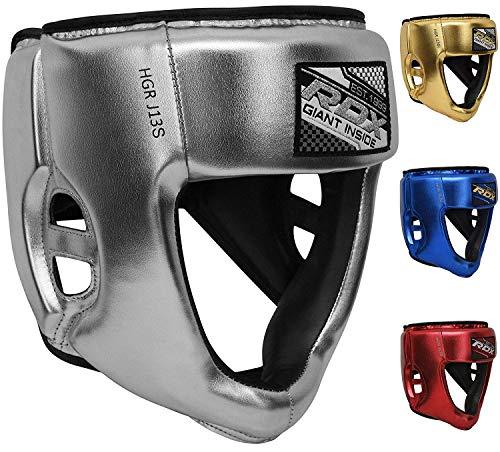 RDX Kinder Kopfschutz für Boxen, MMA Training   Junior Metallic Leder Kopfschützer für Boxtraining, Kampfsport, Kickboxen   Boxhelm für Sparring, Muay Thai, Karate und Taekwondo Headgear (MEHRWEG)