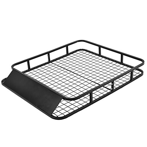 SUNCOO Universal 48Lx40Wx6H Inch Roof Rack Cargo Basket Cars Top Cargo Carrier Luggage Holder with Wind Fairing, 250 LB Capacity, Black