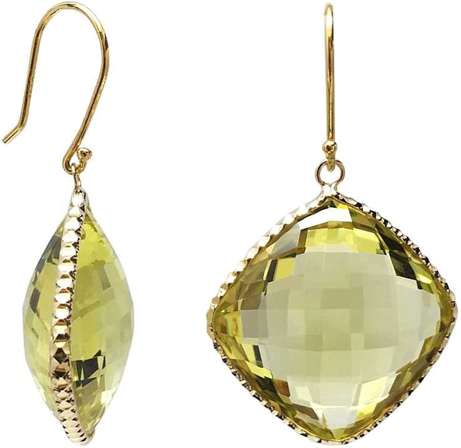 14K Yellow gold Lemon Quartz Cushion 18mm Earrings