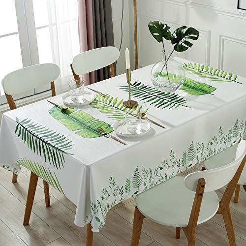 Qualsen テーブルクロス長方形 北欧 テーブルカバー 撥水 防水 防油 PVC製 おしゃれ 137×137cm(モダンリーフ柄)