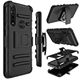 Moto G Power Case, Yunerz Holster Heavy Duty Shockproof Full-Body Protective Hybrid Case Cover with Swivel Belt Clip and Kickstand for Moto G Power 2020 6.4inch (Black)