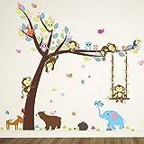 ZooArts ウォールステッカー ウォールシール ウォールペーパー 可愛いな動物 小猿 象 ハリネズミ 子熊 ブランコ 木 多彩な葉 生活防水 環境保護 おしゃれ はがせる