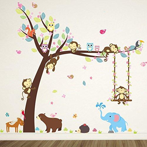Rainbow Fox bébé Arbre Autocollant Mural Singe Hibou éléphant Vinyle Stickers muraux pour garderie décoration (ZY139)
