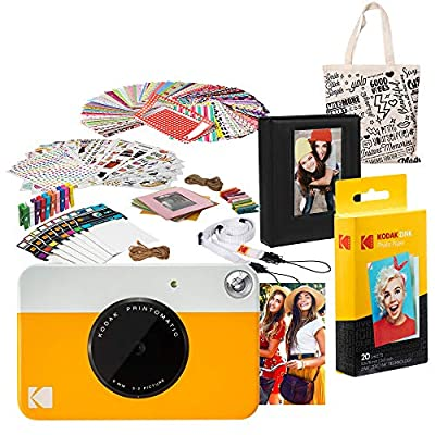 Kodak PRINTOMATIC Instant Print Camera (Yellow) Deluxe Bundle by Kodak
