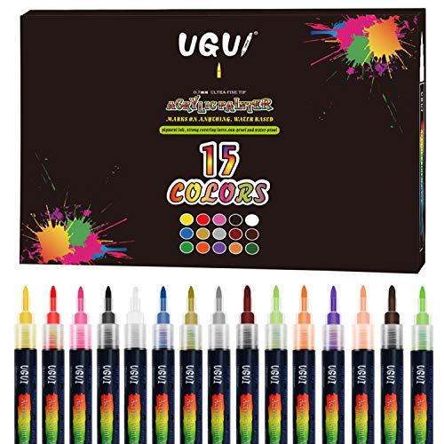 Rotuladores de Pintura Acrílica, UGUI 15 Colores Permanente