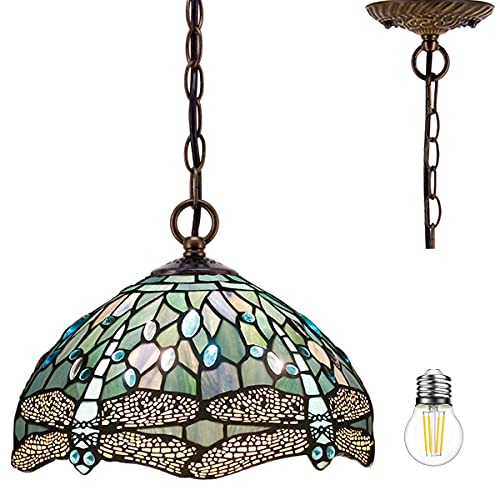 Tiffany Pendant Lighting for Kitchen Island Fixture 12' Sea Blue Stained Glass Dragonfly Farmhouse Rustic Boho Hanging Lamp Industrial LED Chandelier Fixture WERFACTORY Bar Hallway Dining Room Swag