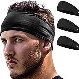 E Tronic Edge Headbands for Men & Women - Headband for Sports, Workout, Running - Comfortable, Quick Drying Head Bands for Long Hair, Mens & Womens, Black