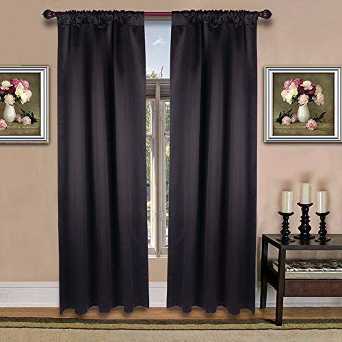 HTFD 2pcs W 52 X L 72 Inch Black Blackout Curtains Thermal Insulated Window Treatment Blackout product image