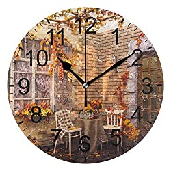 Promini Autumn Wooden Wall Clock 15inch Silent Battery Operated Non Ticking Wall Clock Vintage Wall Decor for Kitchen, Living Room, Bedroom, School, or Office