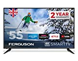 FERGUSON 55 inch Smart 4K LED TV with Freeview HD, WIFI, 3 x HDMI, USB, 4K UHD, NETFLIX, Prime, YouTube, CATCH Up TV - BRITISH MANUFACTURER - F55RTS4K