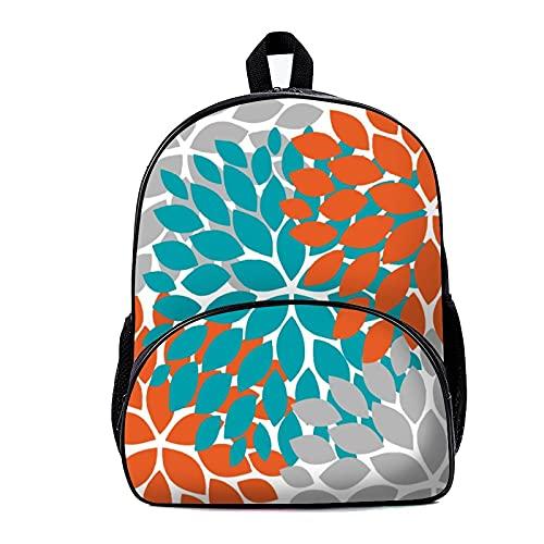 Mochila escolar naranja y verde azulado 18 x 30 x 40 cm mochila viaje bolsa para hombres mujeres trabajo escuela