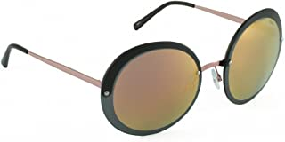 IDEE Mirrored Round Women's Sunglasses - (IDS2341C3SG 61 Rose Gold Mirror with Laser Around-Smoke Color)