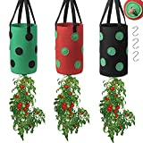 CAYAMIDE 3 Pieces Upside Down Planter Strawberry Indoor Outdoor, 3 Gallon Hanging Tomato Planter Bags with 13 Holes , Garden Vegetable Planting Bags for Patio,House, Balcony