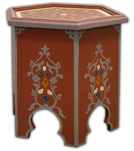 MAISON ANDALUZ Dipinto a mano marocchino caffè ottagonale tavolo - Rosso - Marrakech di 45 H42 CM