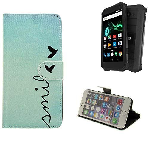 K-S-Trade® Schutzhülle Für Archos Saphir 50X Hülle Wallet Case Flip Cover Tasche Bookstyle Etui Handyhülle ''Smile'' Türkis Standfunktion Kameraschutz (1Stk)