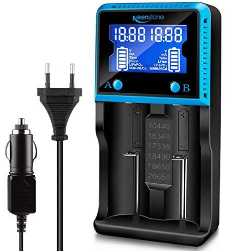 Akku Ladegerät Universal, Keenstone LCD Smart Schnell Aufladen Batterie Ladegerät für NI-MH NI-CD AA AAA Li-Ion LiFePO4 IMR 10440 14500 16340 18650 RCR123 26650 Akkus, Vape Batterie Ladegerät