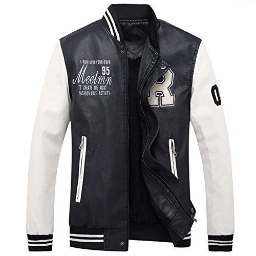 LEOCLOTHO Herren Baseballjacke Casual Collegejacke Leichte Gedruckt PU-Leder Jacke mit Stehkragen Weiß XL