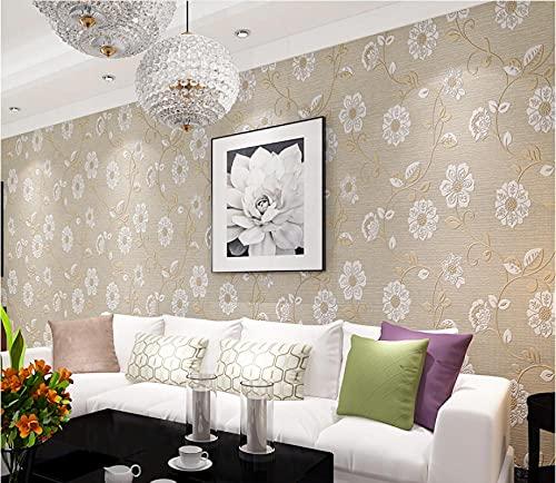 Papel pintado tejido no tejido Flor en relieve 3D Decoración de Pared decorativos Murales moderna de Diseno Fotográfico,embellece muebles sin brillo 0.53m*9.5m=5.0㎡