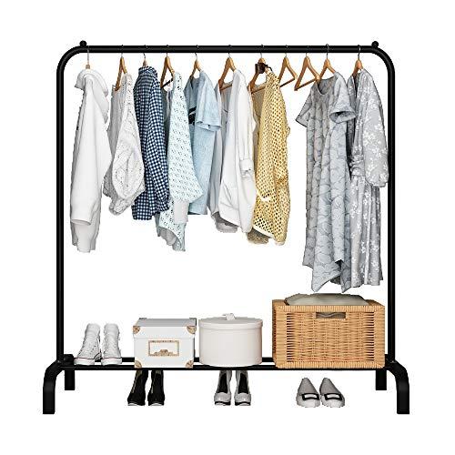 UDEAR Kleiderständer Freistehender Kleiderbügel Multifunktionaler praktischer einpoliger Schlafzimmer-Kleiderständer, Schwarz