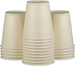 JAM PAPER Plastic Party Cups - 12 oz - Ivory - 20 Glasses/Pack