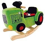 Bieco 74000450 - Plüsch Schaukelstuhl Traktor, Kinder Schaukelstuhl, Sicherheitsgurt und Rückenlehne, Plüschschaukel Traktor für Babys und Kleinkinder ca. 59 x 32,5 x 47 cm