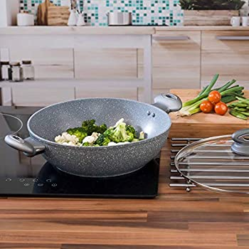 SALTER Marblestone Non-stick Complete Family Pan Induction Suitable 30 cm Grey