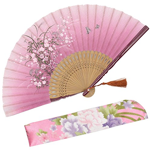 OMyTea Grassflowers 8.27(21cm) Hand Held Folding Fans - with a Fabric Sleeve for Protection for Gifts - Chinese/Japanese Vintage Retro Style (Red)