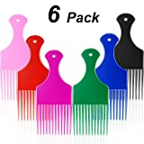 6 Pieces Plastic Wide Hair Pick Comb, 6.5 Inch Smooth Hair Pick Comb, Afro Hair Comb, Hairdressing Styling Tool for Natural Curly Hair (Black, Blue, Pink, Green, Red, Purple)