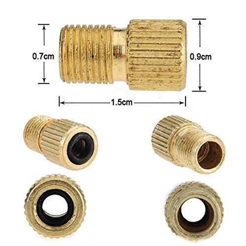 SODIAL(R) 3 piezas de laton Presta a la bomba de bicicleta de la bici de la valvula adaptador Schrader