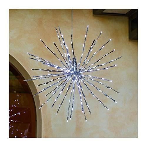 LuminalPark Boule au branchage Lumineux, extérieur, argenté, h. 60 cm, 200 LED Blanc Froid, Flashing, câble Transparent