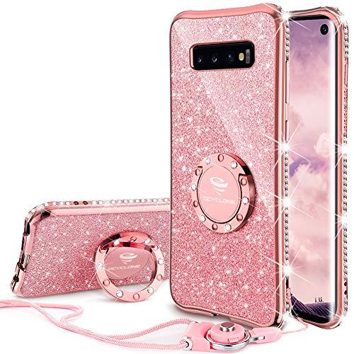 OCYCLONE Fundas para Samsung Galaxy S10,Purpurina Ultra Slim Soft TPU Fundas Movil con Brillo Glitter Dimante Anillo de Teléfono Protectora Samsung Galaxy S10 para Mujer - Oro Rosa