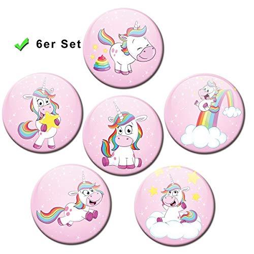 Kühlschrankmagnete Einhorn Rosa 6er Geschenk Set Magnete Tiere lustig für Magnettafel Kinder Mädchen Frauen stark groß Ø 50 mm