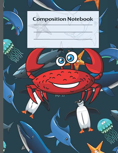 Composition notebook: Sea Life Animals Pattern No line Composition Notebook with Squid, Manta Ray, Crabs and Whales. Ideal workbook for Ocean animal Lover kids teens and adults