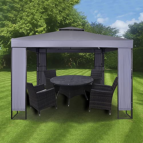 MAXIMUS® GARDEN HEAVY DUTY GAZEBO 3mx3m GAZEBO Pavilion Shelter Marquee Patio (Grey)