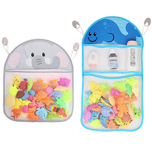Youngever 2 Pack Bath Toy Organizer, Net for Bathtub Toys, Bathroom Storage, Elephant and Whale Design