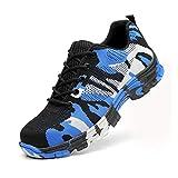 Chaussure de Securité Homme Femme Bottes Travail Chantiers Industrie Sneakers Protection Embout en Acier Basket de Sports Trekking Camouflage Blue 45