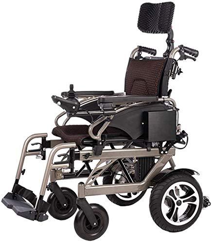 Erik Xian Elektrorollstuhl Faltbare Electric Power Rollstuhl mit Reclinable Rückenlehne, verstellbarem Kopf & Polymer Li-Ionen-Akku 26Ah, Bis zu 18 Mile-Bereich Bequemes und sicheres Reisen
